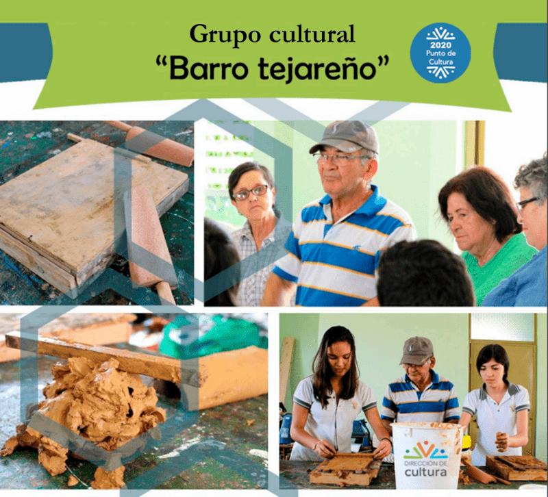 Muestra 4 de los intengrantes del grupo cultural Barro Tejareño, realizando talleres de elaboración de las tejas de barro