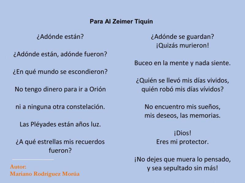 Leemos el poema Al Zeimer Tiquín